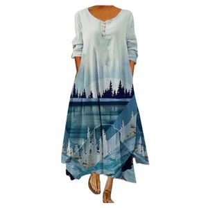 Frauen Plus Size Print Täglich Lässig Langarm Vintage Bohemian O Neck Kleid Größe:XL,Farbe:Blau