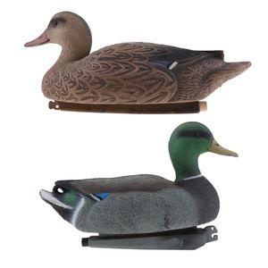 Lockvogel Teichenten, Entenküken, schwimmende Baby-Enten, Kunststoff, wetterfest, Dekofigur, Teich, Garten, 2er Pack