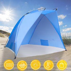 TRESKO Strandmuschel Pop Up Strandzelt Sonnenschutz Windschutz Zelt Sichtschutz XXL