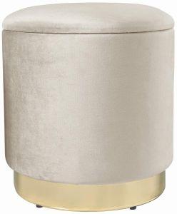 Theo&Cleo Eleganter runder Sitzpuff aus Samt,Mit Stauraum,Aus Samt und Metall,37x37x41.5cm (Beige)