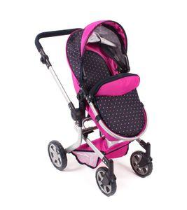 "Bayer Chic 2000 Kombi-Puppenwagen ""MIKA"" Dessin Dots Navy-Pink 595 12"