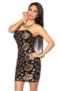 Pailletten-Kleid - Farbe: schwarz/gold Größe L