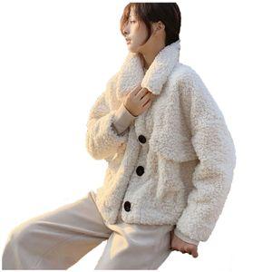 Damen Wintermode Lmitation Wolle Kurz Lose Plüsch Tops Mantel Größe:M,Farbe:Beige