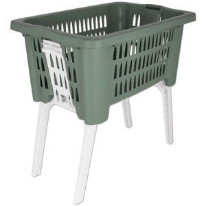 Wäschekorb mit klappbaren Beinen Lochmuster grün 38L Wäschewanne Wäschekiste Wäschetruhe Wäsche Korb Wanne Wäschesammler
