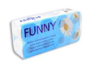 96 Rollen Toilettenpapier Funny, 3-lagig Zellstoff hochweiß, 150 Blatt