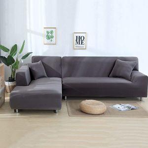 ele ELEOPTION 2 pcs 3 Sitzer Sofahussen Sofabezug Stretch elastische Sofahusse Sofa Abdeckung 170-220cm, Grau