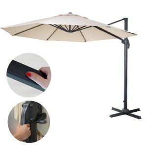 Gastronomie-Ampelschirm HWC-A96, Sonnenschirm, rund Ø 3,5m Polyester Alu/Stahl 26kg  creme ohne Ständer, drehbar