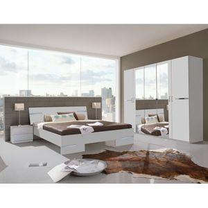 Schlafzimmer ANNA Weiß Schlafzimmer Gästezimmer Appartment inkl. Doppelbett, Nachtkommoden und Kleiderschrank 131-782 (566+293+698)