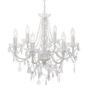 Kronleuchter ALLISON weiß mit Kristallen D57cm romantisch im Landhausstil