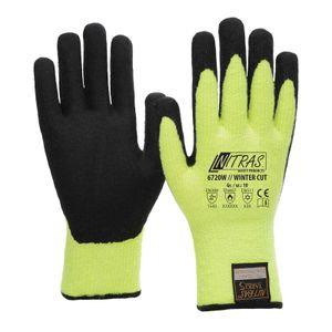 NITRAS Winter-Cut Handschuhe TAEKI5 6720W - neon-gelb Latexbeschichtung, Schnittschutz, Kälteschutz, Kontakthitzebeständig Größe:9