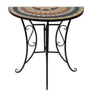 Wohaga Mosaiktisch halbrund 70x35cm Gestell Eisen / Platte Keramik Stern3 Design