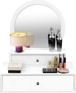 COSTWAY Spiegel mit 2 Schubladen Schminktisch Runder Schminkspiegel Spiegelschrank Frisiertisch Kosmetiktisch