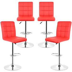4er Set Barhocker Barstuhl Rot Loungesessel Barsessel Stuhl Kunstleder