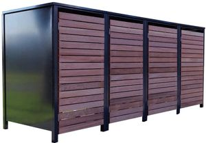 4 Premium Tailor-Mülltonnenboxen für 240 Liter Tonnen Anthrazit / Front-Edelholz