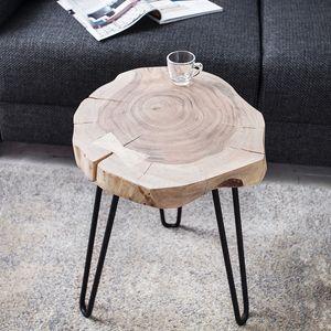 Massiver Beistelltisch GOA Hocker Baumstamm Scheibe Akazie rund Tischplatte Holztisch Massivholz Wohnzimmertisch