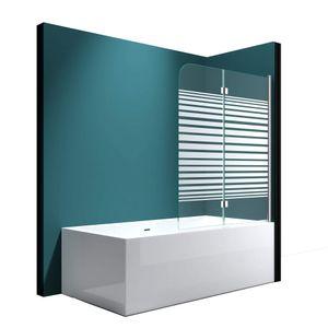 Mai & Mai Faltwand Badewanne 120x140 cm Badewannenaufsatz Duschwand 180° ESG Teilsatiniert NANO C1408SR