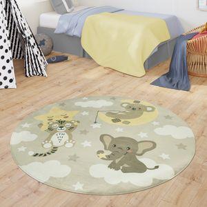 Teppich Kinderzimmer Kinderteppich Babymatte Koala Elefant Wolken Sterne Himmel Mond, Farbe:Beige, Größe:Ø 120 cm Rund