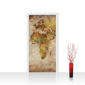 Tür Fototapete EXTRA PROTECT selbstklebend no. 29 - 100X211 cm Vintage Atlas Weltkarte Atlanten Karte alte Karte alter Atlas