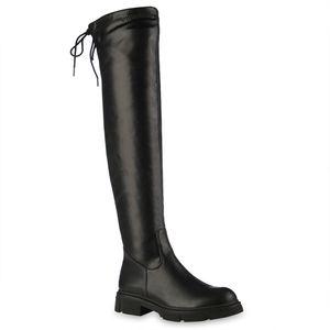 VAN HILL Damen Leicht Gefütterte Overknees Stiefel Profil-Sohle Schuhe 837809, Farbe: Schwarz, Größe: 39