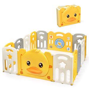 COSTWAY Laufgitter mit Tür und Spielzeugboard, Baby Laufstall mit Sound, Absperrgitter faltbar, Krabbelgitter mit Sicherheitsschloss, Spielzaun aus Kunststoff, Ente Schutzgitter 14 Elemente