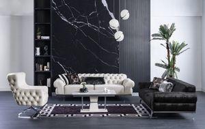 Casa Padrino Luxus Art Deco Chesterfield Wohnzimmer Set - 2 Sofas & 2 Drehsessel & 1 Couchtisch - Edle Art Deco Wohnzimmer Möbel