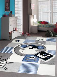 Kinderteppich Spielteppich Teppich Kinderzimmer Babyteppich Pirat Affe in Blau Größe - 80 cm Rund
