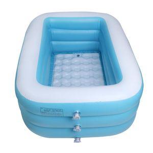 Aufblasbar Schwimmbecken Kinder Pool Swimmingpool Planschbecken - Kinder Aufstellpool - Planschbecken Verdickt 1,5 Meter Blau + Weiß Aufblasbarer Pool