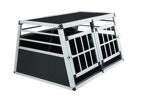 Hundebox Transportbox Hundetransportbox Aluminium mit Trennwand Doppeltür XL 89x69x51cm (LxTxH)
