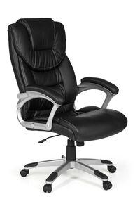 AMSTYLE Bürostuhl Madrid Kunstleder Schwarz ergonomisch mit Kopfstütze | Design Chefsessel Schreibtischstuhl mit Wippfunktion | Drehstuhl hohe Rücken-Lehne X-XL 120 kg
