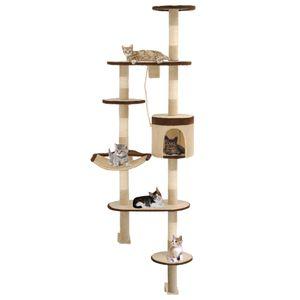 Eleganter- Wandkratzbaum,Kratzbaum Katzenkratzbaum Katzenhaus für Katzen Stabile&Dicken,Multi-Plattform mit Sisal-Kratzsäulen 194 cm Beige/Braun🍓7167
