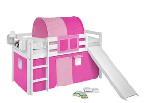 Lilokids Spielbett JELLE Rosa Rosa - Hochbett - weiß - mit Rutsche und Vorhang - Maße: 113 cm x 208 cm x 98 cm; JELLE3054KWR-ROSA-ROSA