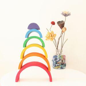 Baby Holzbausteine Stapelspiel Steckspiel Pädagogisches Spielzeug für Kinder frühe Ausbildung Größe 6-teilig