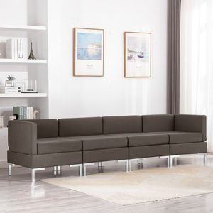 4-tlg. Sofagarnitur Stoff Taupe, Wohnlandschaft-Sofa, Couch, Relaxsofa Moderne