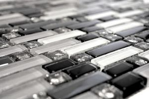 Handmuster Mosaikfliese Transluzent weiß grau schwarz Verbund Glasmosaik Crystal EP weiß grau schwarz MOS87-IL007_m