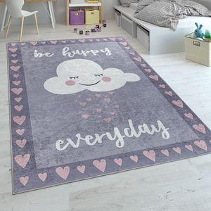 Kinderteppich, Spielteppich Für Kinderzimmer, Spruch-Motiv Und Wolke, Grau Rosa, Grösse:160x230 cm