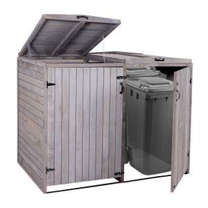 XL 2er-/4er-Mülltonnenverkleidung HWC-H74, Mülltonnenbox, erweiterbar 120x75x96 Massiv-Holz  anthrazit-grau