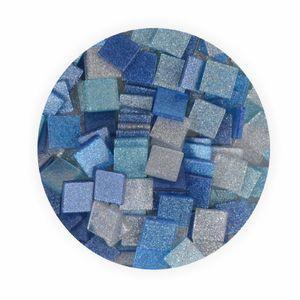 Creleo - Mosaiksteine 10x10mm Glitter Mix blau 190 Stück 45 g