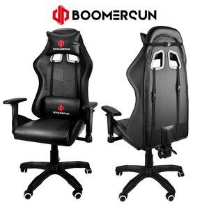 Boomersun Gaming-Stuhl Drehstuhl Bürostuhl Schreibtischstuhl Cheffsessel Gaming Stuhl Bürostuhl Sportsitz Schwarz