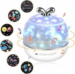 Sternenhimmel Projektor Lampe, 3 in 1 Bluetooth Lautsprecher LED Musik Nachtlicht Kind mit 6 Projektionsfilmen 360° Drehbar Starry Music Projector mit Fernbedienung, Timer für Baby, Kinder