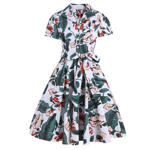 Damen Reverskragen Minikleid Casual Kurzarm Swing Dress,Farbe: Grün drucken,Größe:XL