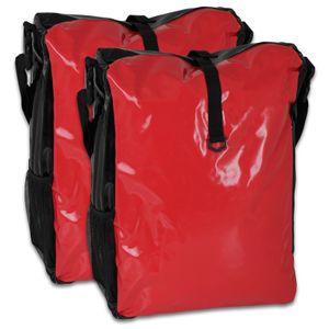 Fahrradtasche 2 Stück - (LKW-Plane) - rot/schwarz
