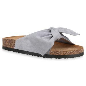 Mytrendshoe Damen Sandalen Pantoletten Hausschuhe Schleifen Schuhe 830663, Farbe: Hellgrau, Größe: 39