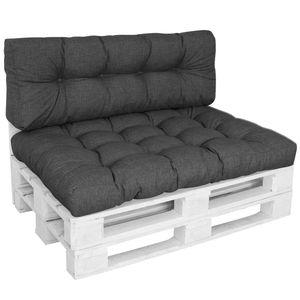 DILUMA Outdoor Palettenkissen Tino Lounge Set in Anthrazit  -  Sitzkissen 120 x 80 x 18 cm + Rückenkissen 120 x 40 x 10-20 cm - Lounge Palettensofa Indoor / Outdoor schmutz- und wasserabweisende Palettenauflage