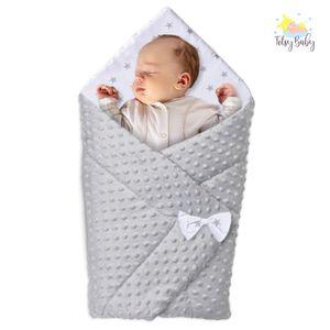 Babyhörnchen Decke Babydecke Einschlagdecke Babyhörnchen Babynest Wickeldecke Umschlagdecke aus Minky 80x80 cm GRAU