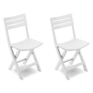 2 Stück Gartenstuhl Klappstuhl Kunststoff Weiß