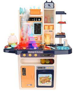 XXL Spielküche Kinderküche Zubehör Funktion Wasserhahn Kaltdampf 65 Elemente 9571, Farbe:Dunkelblau