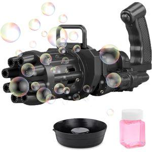 Gatling Bubble Machine Elektrisches Bubble Gun Spielzeug, 8-Loch Riesige Menge Automatischer Bubble Maker Outdoor Spielzeug(schwarz)