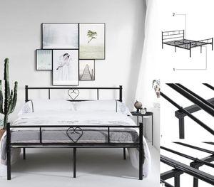 H.J WeDoo Doppelbett Metallbett Ehebett Metall Bettgestell mit Lattenrost für Gästezimmer Schlafzimmer Bett In Schwarz Herz Symbol Muster 140x190cm