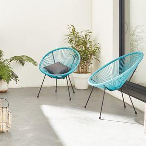 Set mit 2 eierförmigen Sesseln - Acapulco Türkis - 4-beiniger Sessel im Retro-Design, Kunststoffschnur, innen / außen