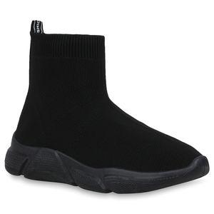 Mytrendshoe Damen Sportschuhe Slip Ons Strick Sockenschuhe Fitness Sneaker 830008, Farbe: Schwarz Schwarz, Größe: 39